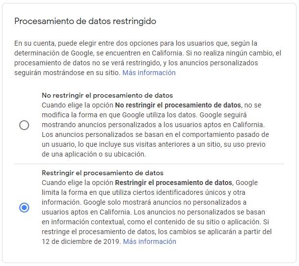 opciones sobre la restricción de datos